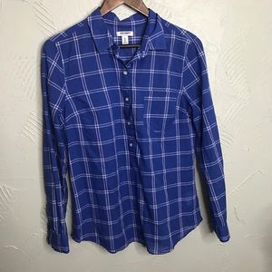 Blue Plaid Light Weight Button Down